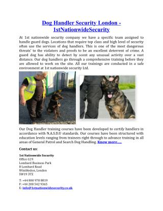 Dog Handler Security London