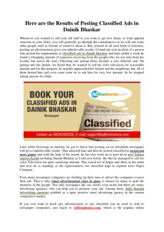 Here are the results of posting classified ads in dainik bhaskar