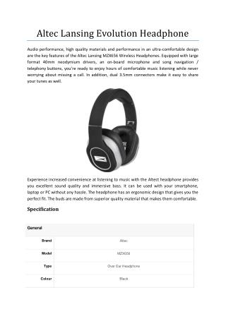 Altec Lansing MZX656 Evolution Headphone (Black)