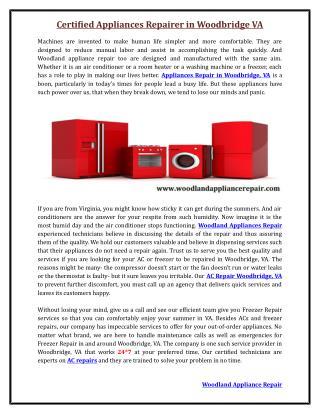 Certified Appliance Repairer Woodbridge VA