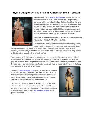Stylish Designer Anarkali Salwar Kameez for Indian festivals