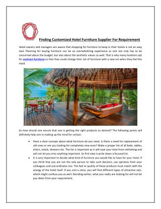 Finding Customized Hotel Furniture Supplier For Requirement