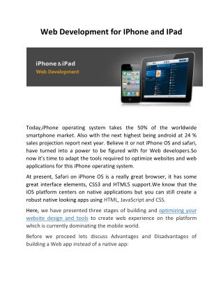 Web Development for IPhone and IPad