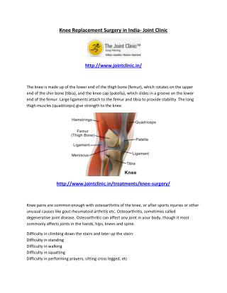 Knee Replacement Surgery in India- Joint Clinic