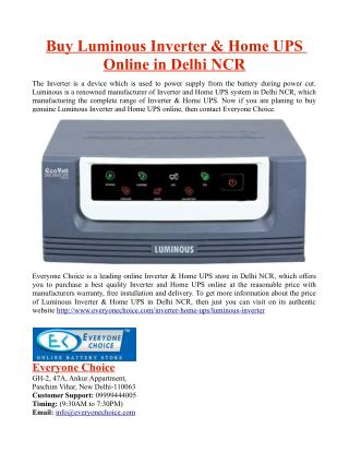 Buy Luminous Inverter & Home UPS Online in Delhi NCR