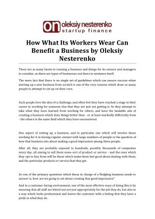 What Its Workers Wear Can Benefit A Business by Oleksiy Nesterenko