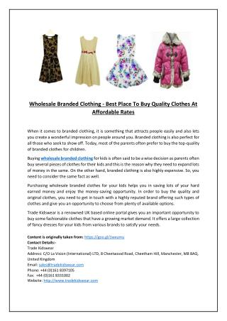 Wholesale Branded Clothing - Best Place To Buy Quality Clothes At Affordable Rates