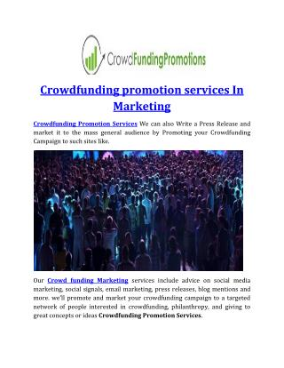 Crowdfunding promotion services In Marketing