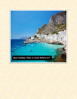 Best Holiday Villas in Sicily Where to?