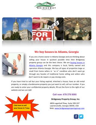 We buy houses in Atlanta, Georgia