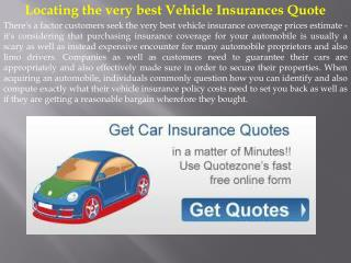 Locating the very best Vehicle Insurances Quote