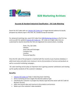 Accurate Industry SIC Codes List | B2B Marketing Archives