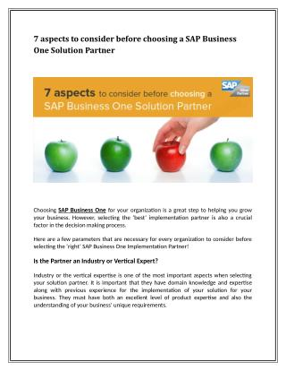 7 aspects to consider before choosing a SAP Business One Solution Partner