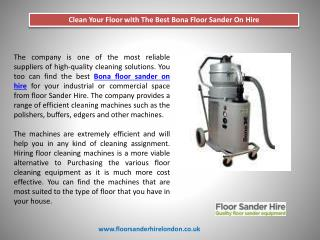 Clean Your Floor with The Best Bona Floor Sander On Hire