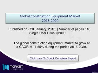Key Factors based on Global Construction Equipment Market Analysis 2020