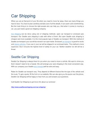 Seattle Car Shipping