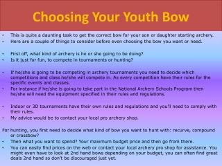 Youth Bows South Africa