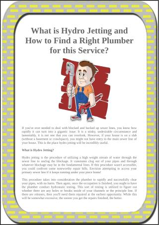 What is Hydro Jetting and How to Find a Right Plumber for this Service?