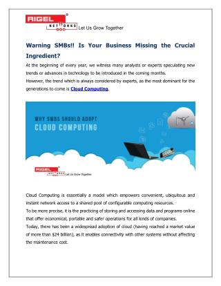 Warning SMBs!! Is Your Business Missing the Crucial Ingredient?
