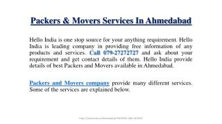 Packers And Movers Service In Ahmedabad