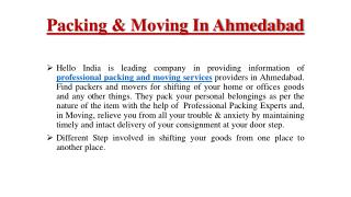 Packing & Moving In Ahmedabad