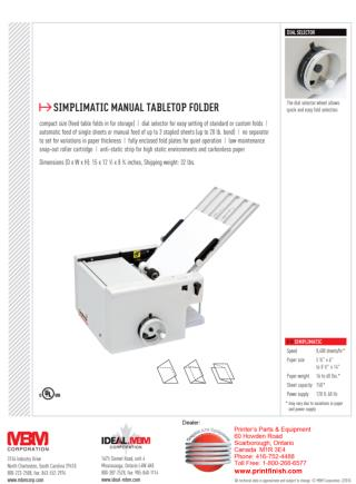 MBM Simplimatic Tabletop Folder - Printfinish.com