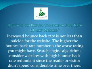 How You Can Reduce The Bounce Back Rate Of Your Website?