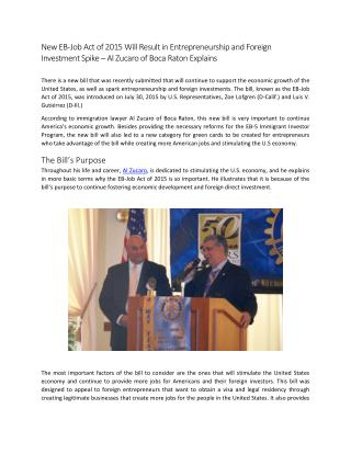 New EB-Job Act of 2015 Will Result in Entrepreneurship and Foreign Investment Spike – Al Zucaro of Boca Raton Explains