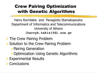 Crew Pairing Optimization  with Genetic Algorithms