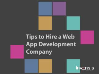 Tips to Hire a Web App Development Company