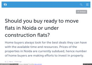 Should you buy ready to move flats in Noida or under construction flats?