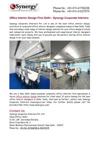 Office Interior Design Firm Delhi - Synergy Corporate Interiors