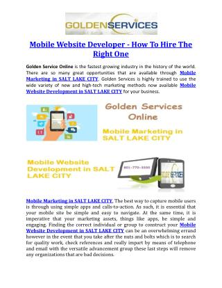 Mobile Website Developer - How To Hire The Right One