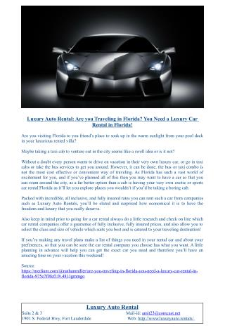Luxury Auto Rental: Are you Traveling in Florida? You Need a Luxury Car Rental in Florida!