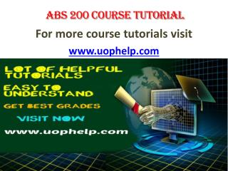 ABS 200 ACADEMIC ACHIEVEMENT / UOPHELP