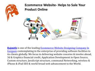 Ecommerce website helps to sale your product online
