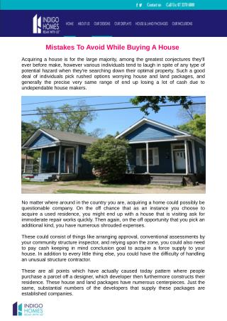 Mistakes To Avoid While Buying aA House