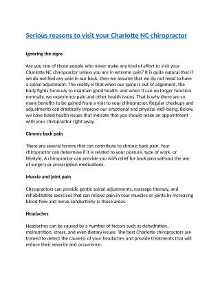 Serious reasons to visit your Charlotte NC chiropractor