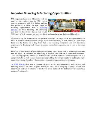 Importer Financing & Factoring Opportunities