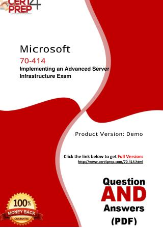 70-414 Microsoft Exam - Certification Test PDF Questions