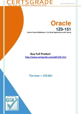 1Z0-151 Updated Questions - PDF Demo Material