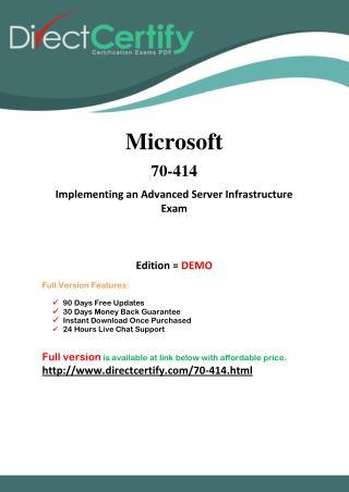 70-414 Certification Exam - PDF Training Guides