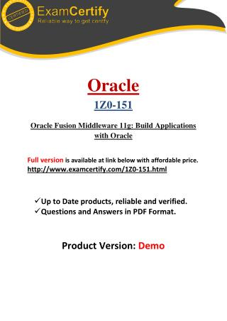 1Z0-151 Guaranteed PDF Study Material
