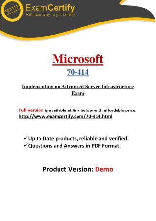 70-414 Guaranteed PDF Study Material
