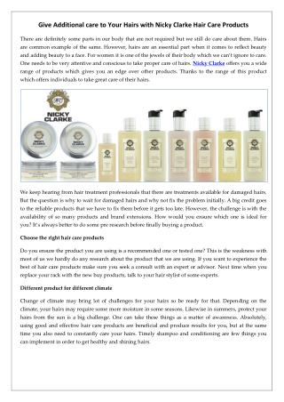 Give Additional care to Your Hairs with Nicky Clarke Hair Care Products