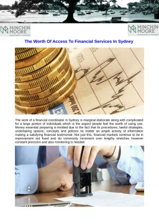 The Worth Of Access To Financial Services In Sydney