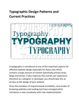 Typographic Design Patterns and Current Practices