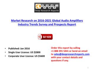 World Audio Amplifiers Market (US, Europe, China, Japan) 2016-2021 Forecasts