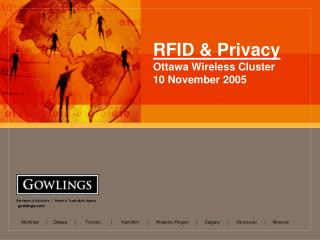RFID  Privacy Ottawa Wireless Cluster 10 November 2005
