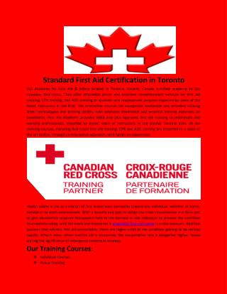 Standard First Aid Certification in Toronto